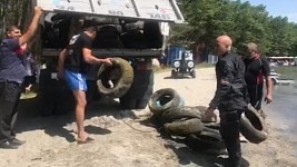 One Truck of Tires from Lake Sevan Bottom