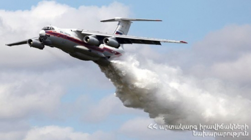 'IL76' Waterbombing Aircraft Carried out Its 12th Flight to Fight Fire in Khosrov Reserve