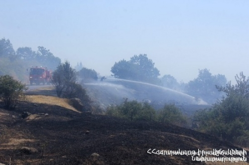 Forest-Covered Area on Fire Near Herher Reservoir in Vayots Dzor Region