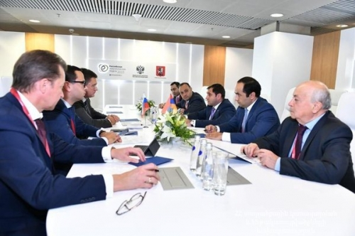 Suren Papikyan Discussed with RF Minister of Energy Further Works of 'North-South Energy Corridor' Project